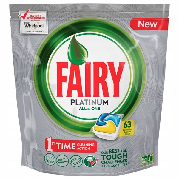 قرص ماشین ظرفشویی فیری مدل پلاتینیوم همه کاره بسته 63 عددی | Fairy Platinum All In One Dishwasher Tabs Lemon 63