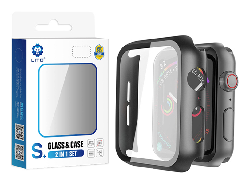 تصویر قاب محافظ و گلس لیتو مدل +S مناسب برای ساعت هوشمند اپل واچ 44mm