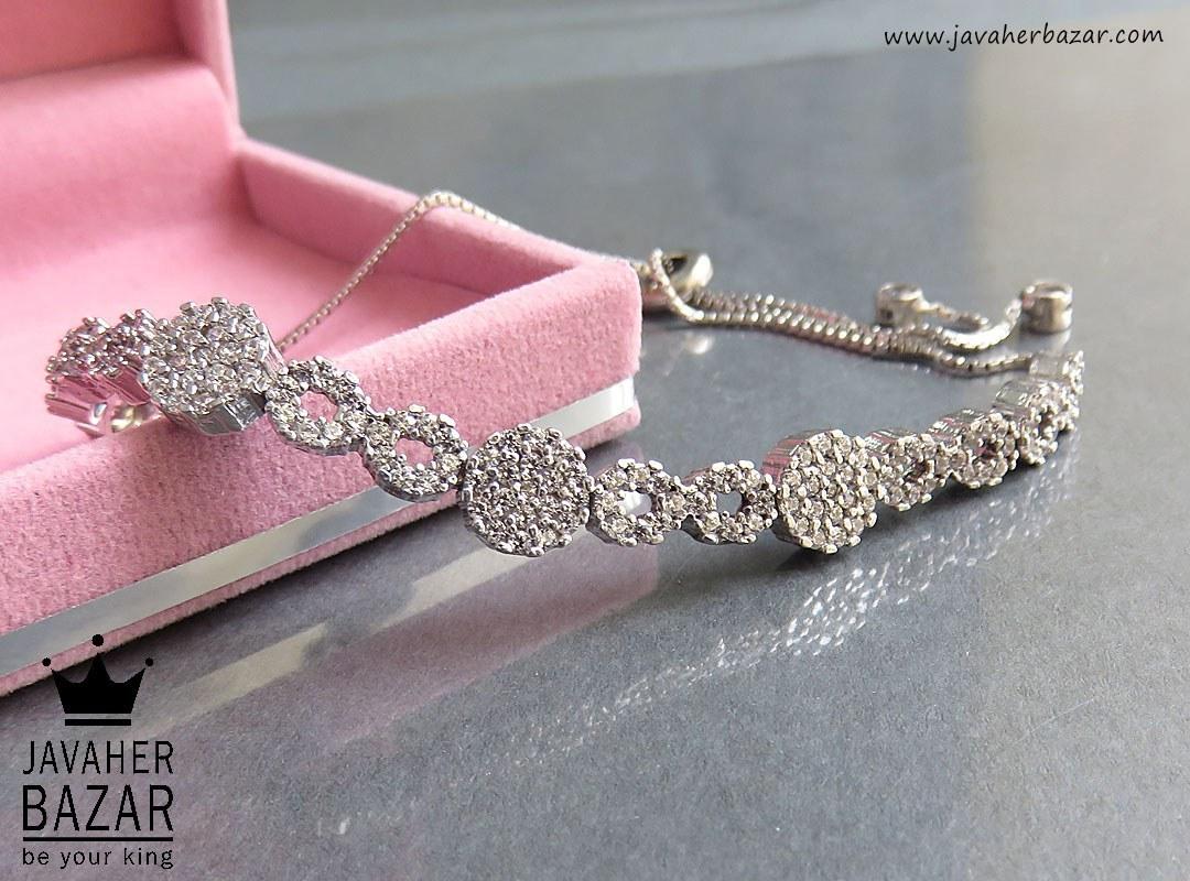 دستبند نقره طرح بی نهایت زنانه - کد 46453