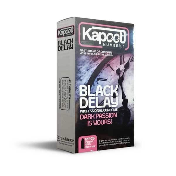 تصویر کاندوم تاخیری کاپوت مدل Black Delay بسته 12 عددی Kapoot model Black Delay condom - 12 pieces