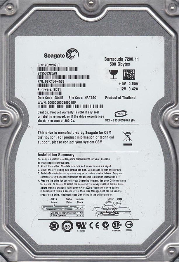 تصویر هارد اینترنال سیگیت باراکودا ظرفیت ۵۰۰ گیگابایت Seagate ST3500320AS BarraCuda 500GB 32MB Cache Internal Hard Drive