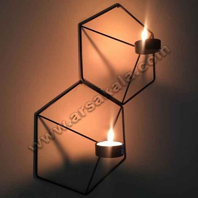 جا شمعی دیواری طرح ۶ ضلعی