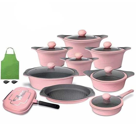 چدن با پوشش داخلی گرانیت نچسب و ضد خش MGS Cookware Set | سرویس قابلمه 20 پارچه ام جی اس MGS-KC2013