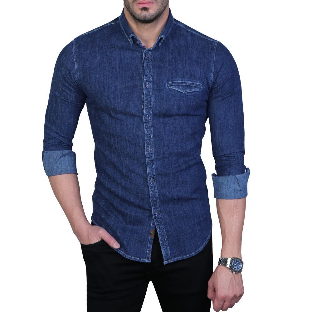 تصویر پیراهن مردانه لی سرمه ای