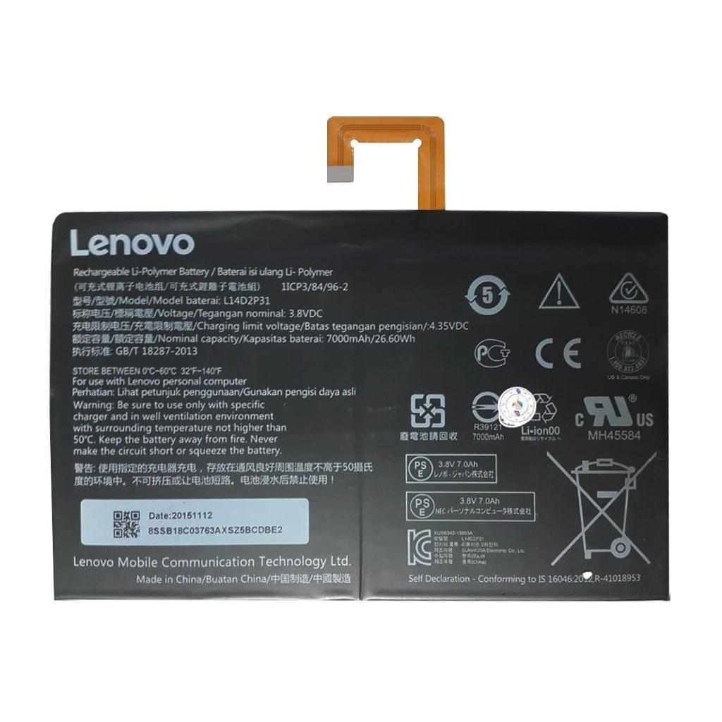 main images باتری اورجینال تبلت لنوو مدل L14D2P31 ظرفیت 7000 میلی آمپر ساعت Lenovo L14D2P31 7000mAh Original Tablet Battery