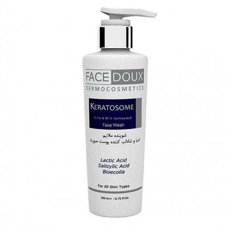 تصویر ژل شوینده غیرصابونی ملایم احیاء و بازسازی کننده کراتوزوم Keratosome فیس دوکس 200 میلی لیتر Facedoux  Keratosome Face wash 200ml