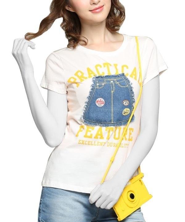 تی شرت تکه دوزی زنانه جین وست
