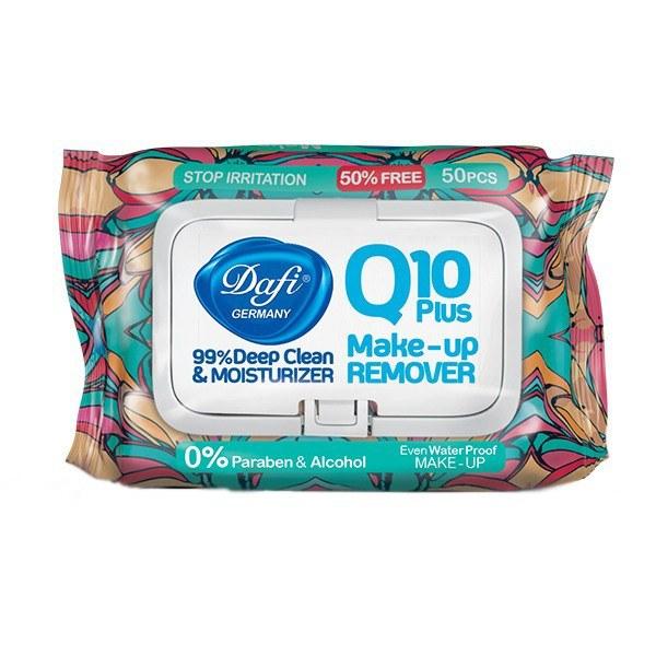 تصویر دستمال مرطوب آرایش پاک کن ضد حساسیت  دافی مدل Q10 PLUS  بسته 50 عددی