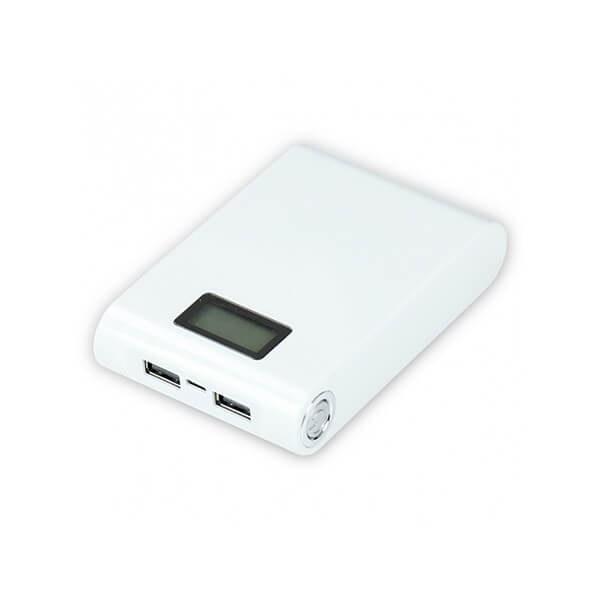main images کیس پاوربانک دو خروجی USB سفید با LCD و برد 4 باتری 12000mAh
