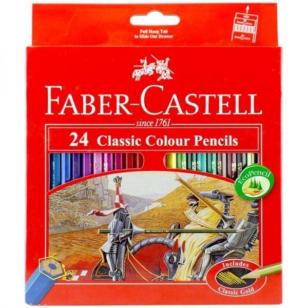تصویر مداد رنگی 24 رنگ جعبه مقوایی فابرکاستل کد 115854