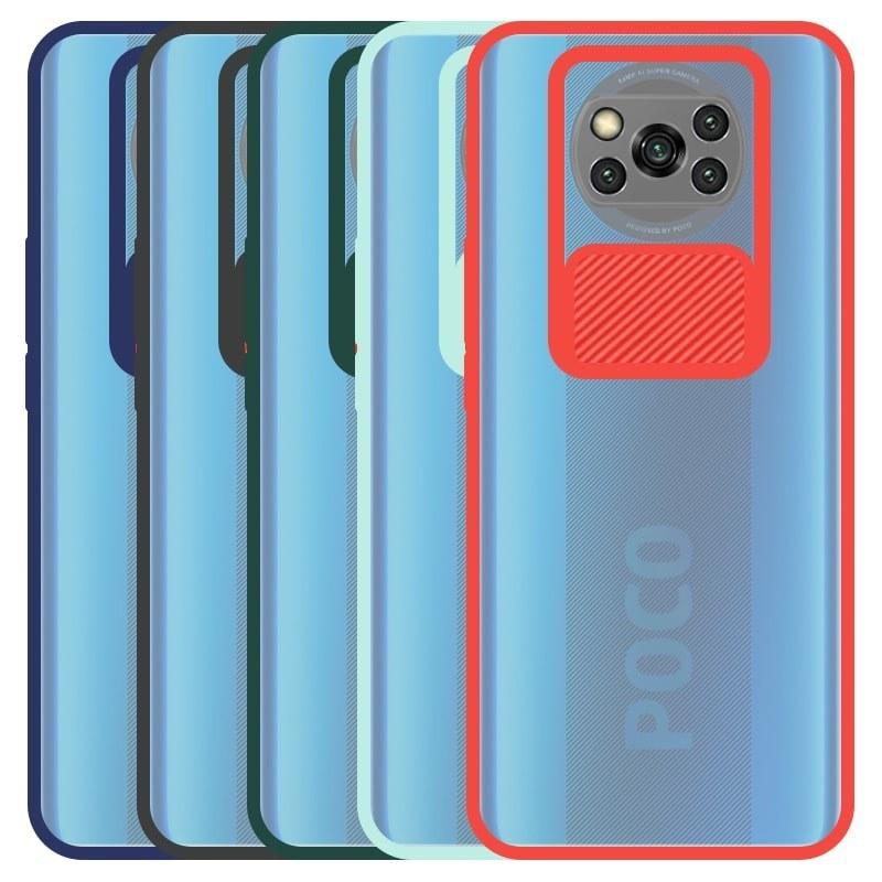 تصویر قاب و گارد محافظ مناسب برای گوشی Xiaomi POCO X3 nfc مدل ماکرو شیلد محافظ لنزدار طرح پشت مات