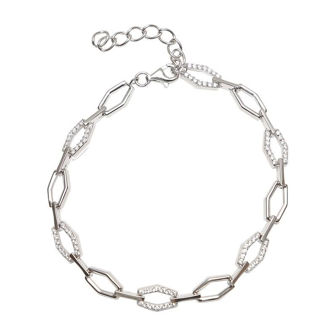 دستبند زنجیری نقره - کد SBC014