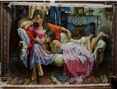 تصویر تابلو فرش خواهران کتابخوان