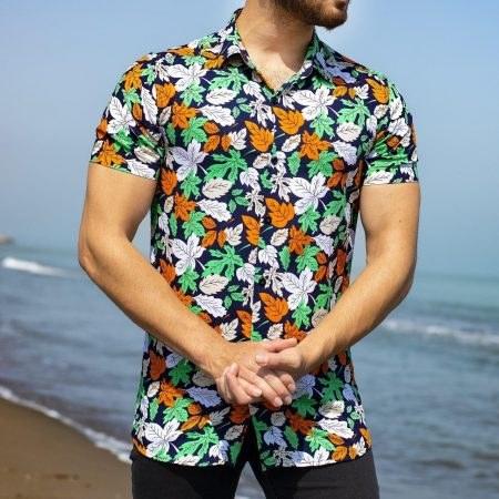 پیراهن هاوایی طرح برگ_کد۱۲۵۴