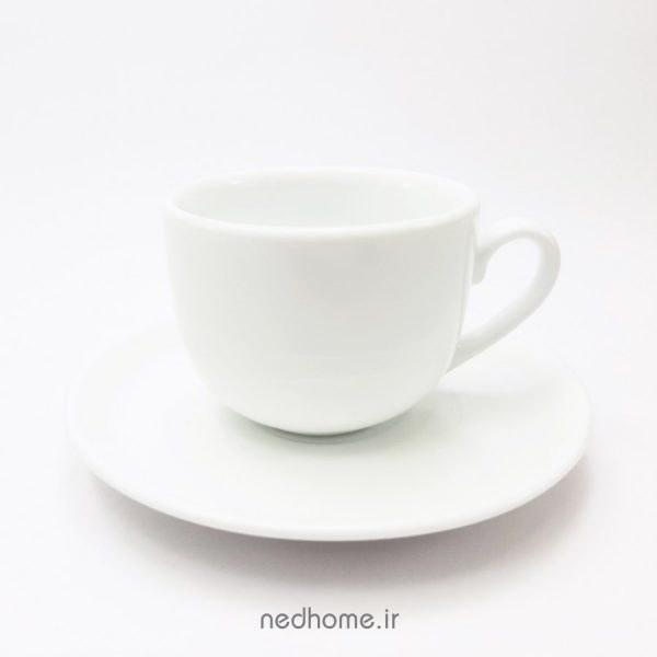 تصویر فنجان و نعلبکی سفید چینی زرین