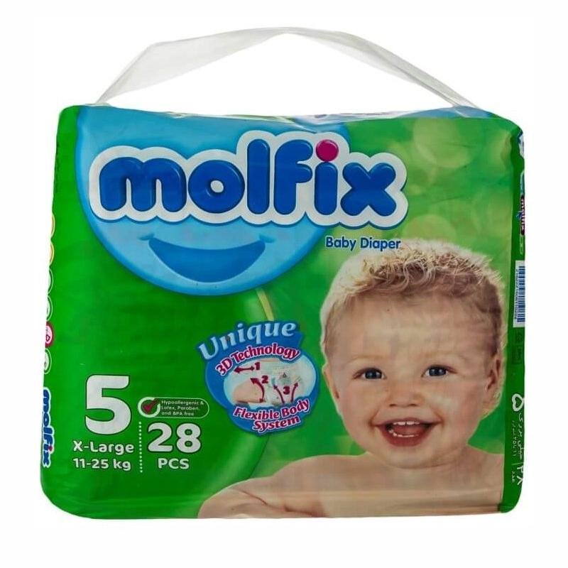 تصویر پوشک مولفیکس نوزادی 28 عددی سایز 5 Molfix molfix Diapers - Size 5 code:57960