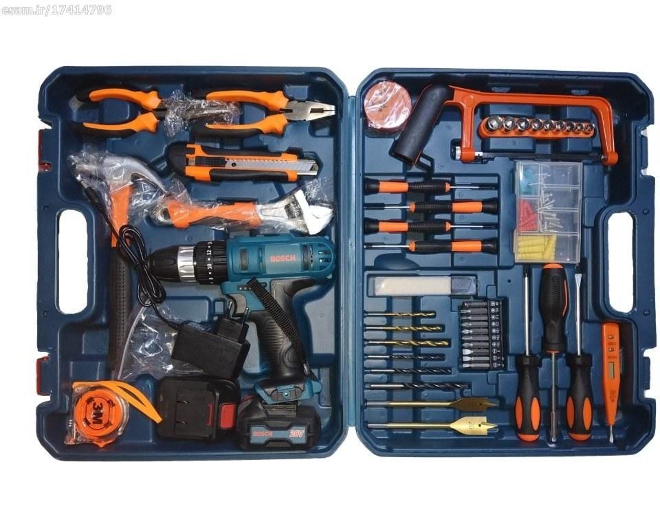 جعبه ابزار جادویی +دریل شارژی بوش 28 ولت سه کاره