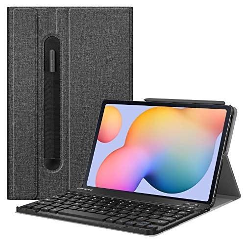 عکس کیف چرمی Fintie برای تبلت سامسونگ مدل Galaxy Tab S6 Lite 10.4'' 2020  SM-P610 (Wi-Fi) SM-P615 (LTE) Fintie Keyboard Case for Samsung Galaxy Tab S6 Lite 10.4'' 2020 Model SM-P610 (Wi-Fi) SM-P615 (LTE), Slim Stand Cover with Secure S Pen Holder Detachable Wireless Bluetooth Keyboard, Gray کیف-چرمی-fintie-برای-تبلت-سامسونگ-مدل-galaxy-tab-s6-lite-104-2020-sm-p610-wi-fi-sm-p615-lte
