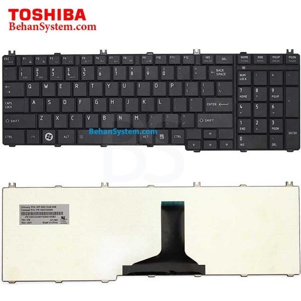 تصویر کیبورد لپ تاپ Toshiba مدل Satellite L675 به همراه لیبل کیبورد فارسی جدا گانه