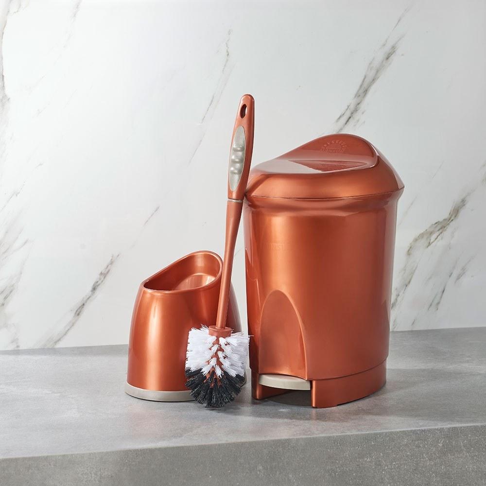 تصویر ست سطل و توالت شوی دلفین مسی
