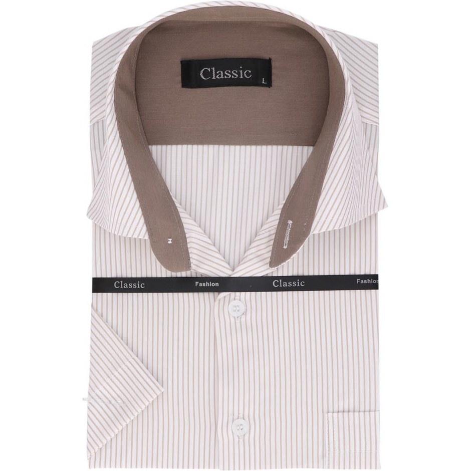 عکس پیراهن مردانه آستین کوتاه طرح راه راه کد 703  پیراهن-مردانه-استین-کوتاه-طرح-راه-راه-کد-703