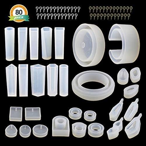 قالب های جواهرات رزین 30Pcs - قالب های سیلیکون رزین LET'S برای رزین های اپوکسی ، رزین UV ، شامل قالب های مختلف آویز شکل ، قالب های النگو ، قالب های حلقه ای و پین های پیچ مخصوص 50Pcs