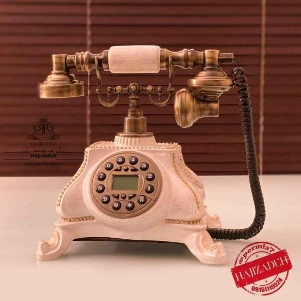 تصویر تکنیکال تلفن رزین ذوزنقه  طلایی برنزی  1001