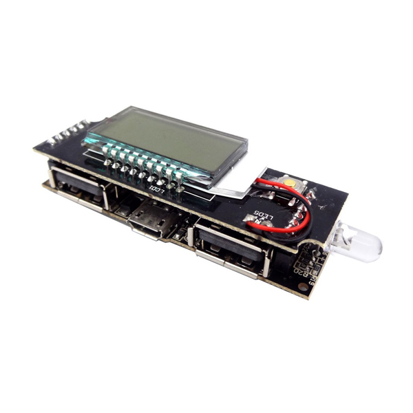 ماژول پاوربانک دارای نمایشگر و دو خروجی 5V 1A , 2.1A USB