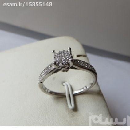 انگشتر  زنانه نقره سولیتر بسیار ظریف و زیبا بانگین های کوارتزسفید مدروز | انگشتر زنانه نقره سولیتر مجلسی تایلندی 2.35g
