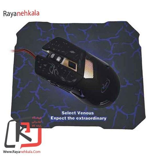 تصویر ماوس گیمینگ ونوس مدل PV-MVG 837 به همراه ماوس پد Venous PV-MVG837 Gaming mouse