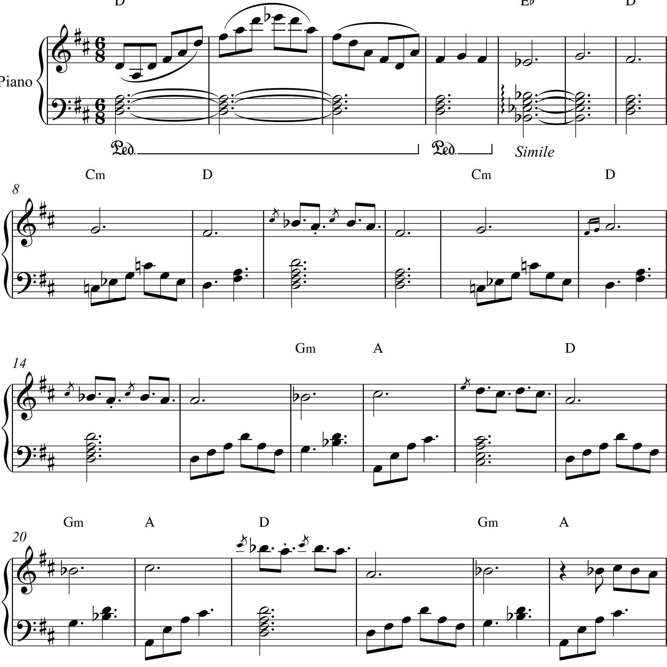 نت پیانو مرغ طوفان ویگن به همراه آکورد