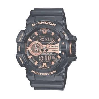 Casio G-Shock سیاه و سفید و رز طلایی شماره گیری رزین کوارتز سازمان دیده بان مرد GA400GB-1A4