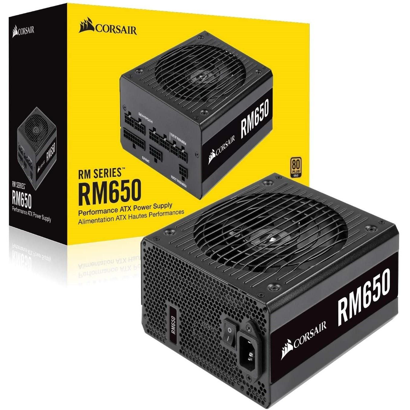 تصویر منبع تغذیه کامپیوتر کورسیر مدل RM650 80 PLUS Gold Fully Modular RM Series RM650 — 650 Watt 80 PLUS® Gold Certified Fully Modular PSU