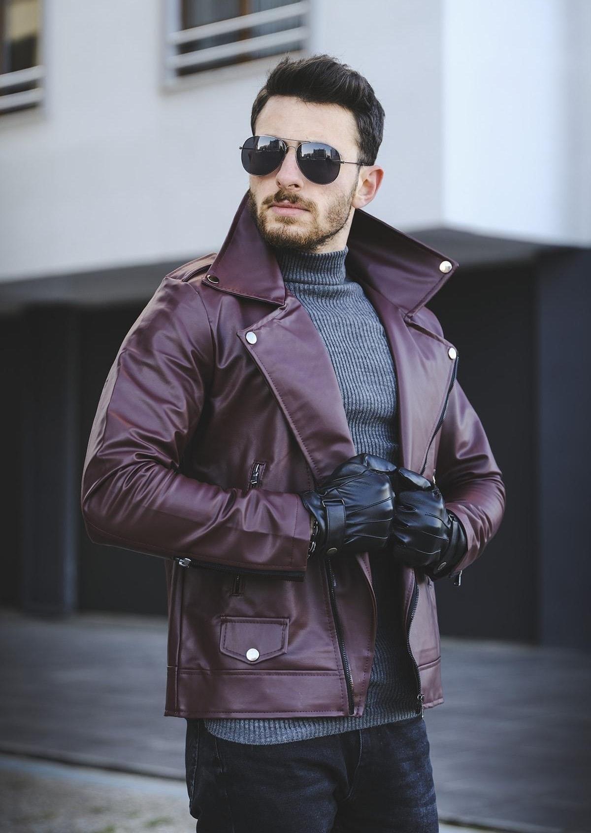 تصویر ژاکت چرم مردانه برند اکسید رنگ زرشکی ty72781216