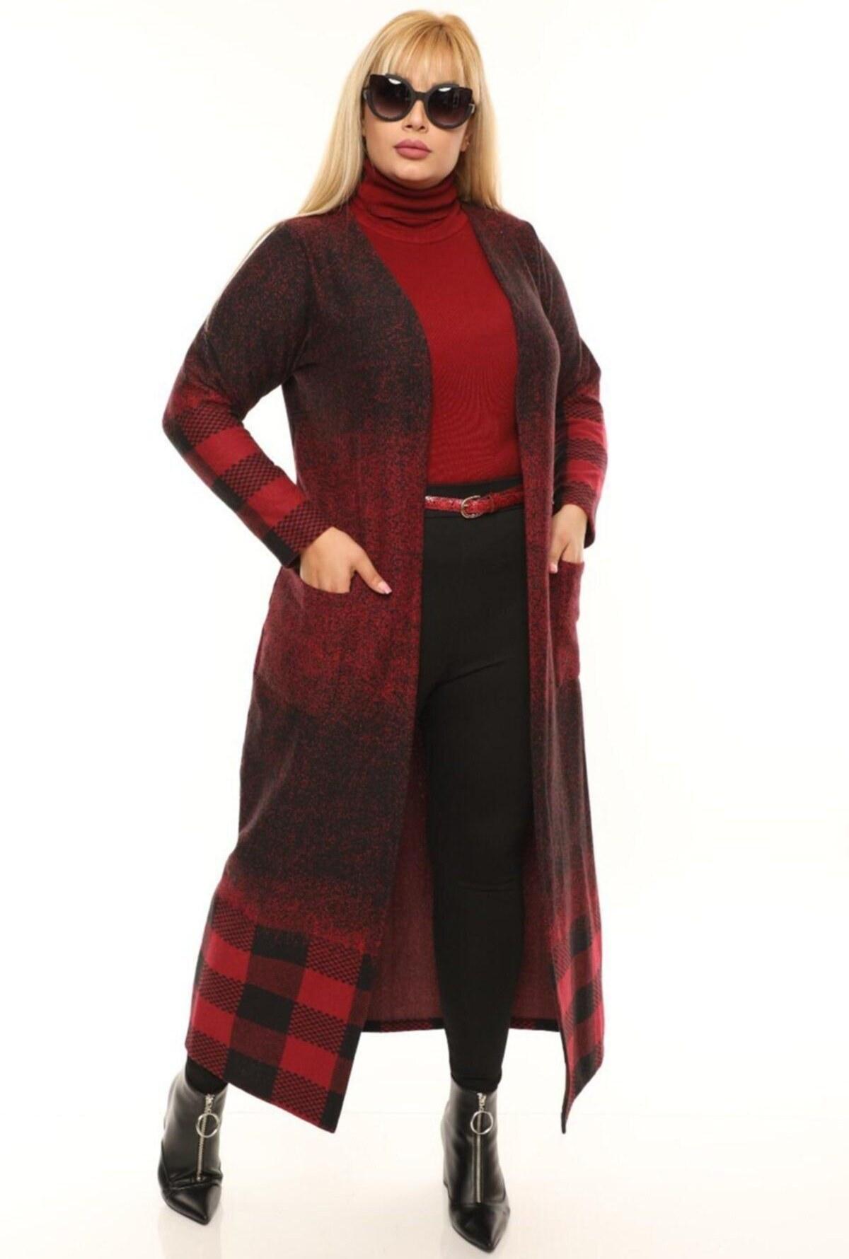 بافتنی بلند طرحدار زنانه قرمز برند Hanezza کد 1600505762