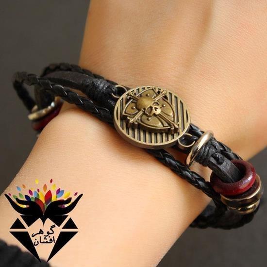 تصویر دستبند بافت اسپرت پسرانه طرح جمجمه کدD1480