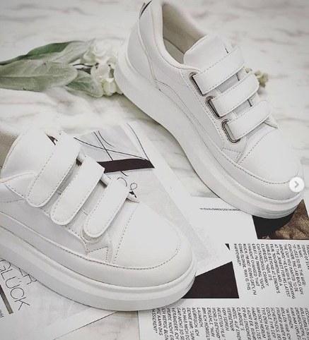 کفش کتانی چسبی دخترانه سفید