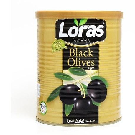 تصویر زیتون سیاه فلزی لوراس مدل روغنی وزن ۲.۵ کیلو ترکیه Loras black metallic olive oil model weighing 2.5 kg Turkey