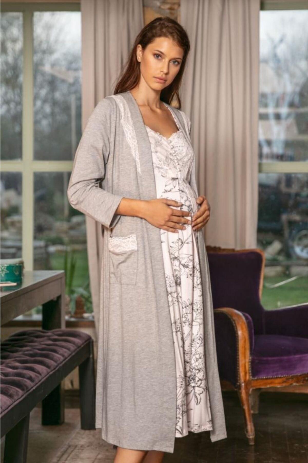 ست لباس شب بارداری گلدار 5544زنانه برند Anıl کد 1603882371