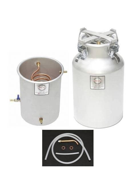 تصویر دستگاه تقطیر و دستگاه عرق گیری 22 لیتری با خنک کننده سطلی آبی سایز 1