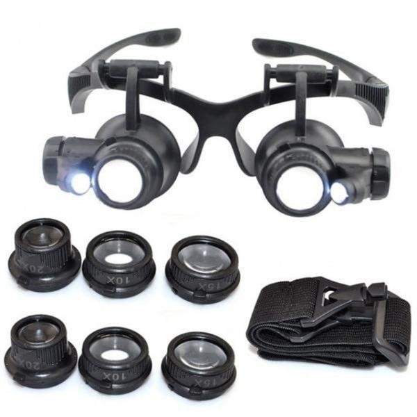 تصویر ذره بین عینکی دوچشمی 4 لنز 10X,15X, 20X,25 مدل 9892GJ