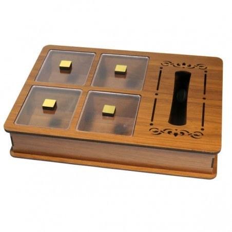 تصویر جعبه پذیرایی ۴ خانه همراه جعبه دستمال کاغذی جی اچ استور