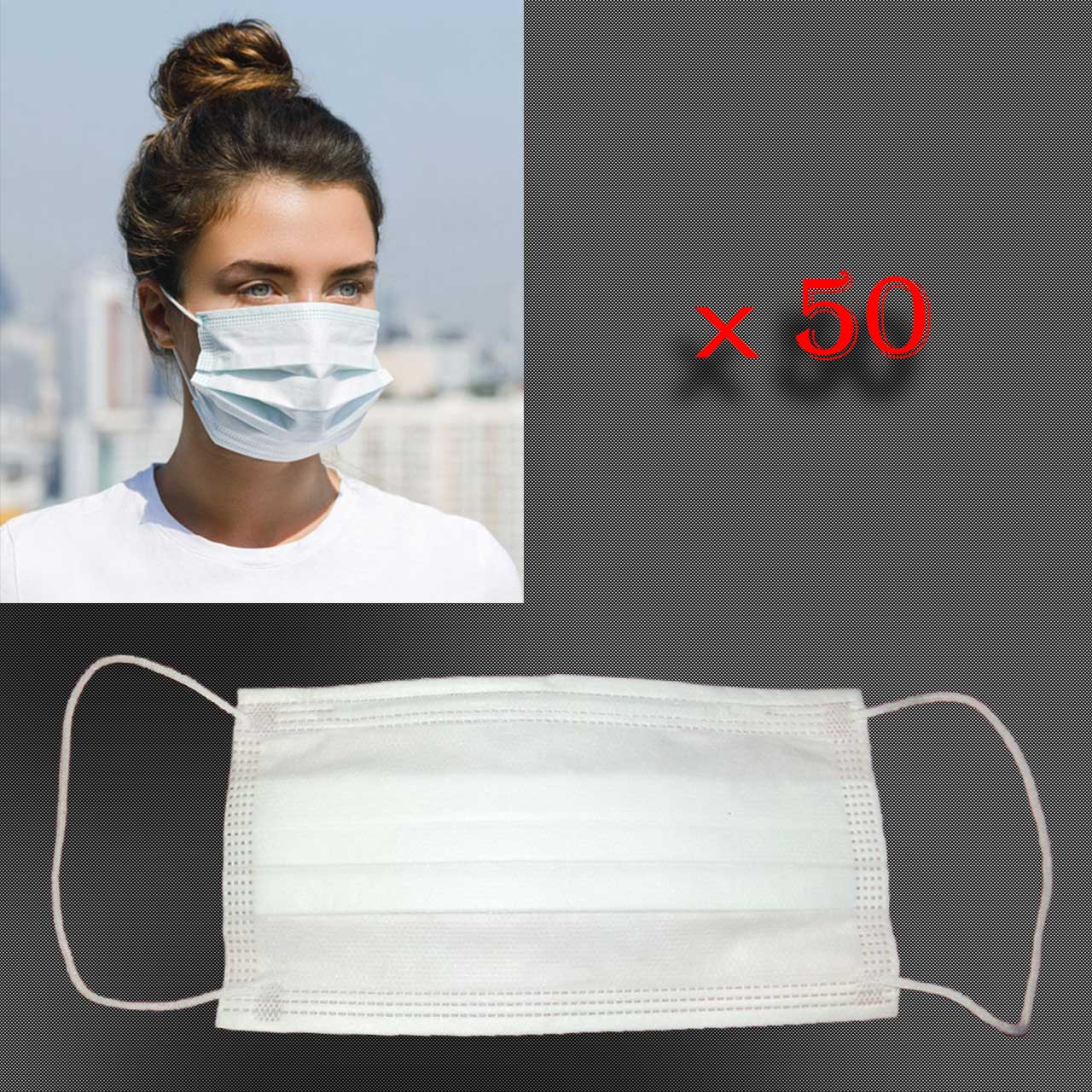 ماسک سه لایه سفید با نگه دارنده بینی بسته 50 عددی