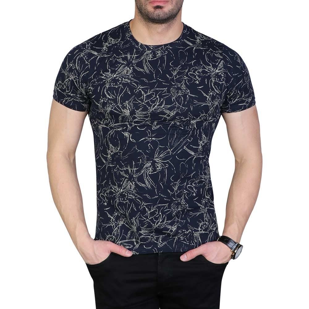 تصویر تی شرت مردانه یقه گرد هاوایی سرمه ای