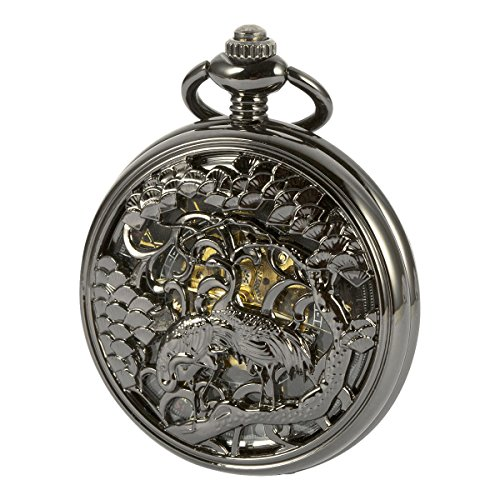 ManChDa Vintage Automatic Mechanical Skeleton Hollow Lucky Cranes Pocket Watch for Men Women …