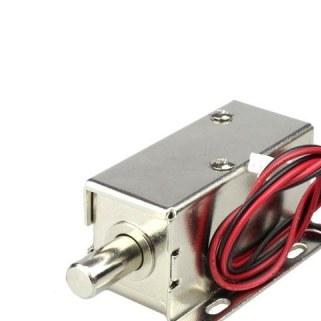 تصویر قفل برقی 12 ولت کابینتی با زبانه میله ای ا Solenoid electric lock Solenoid electric lock