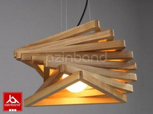 لوستر چوبی مثلثی ۸ تکه   لوستر چوبی مثلثی با چوب روسی
