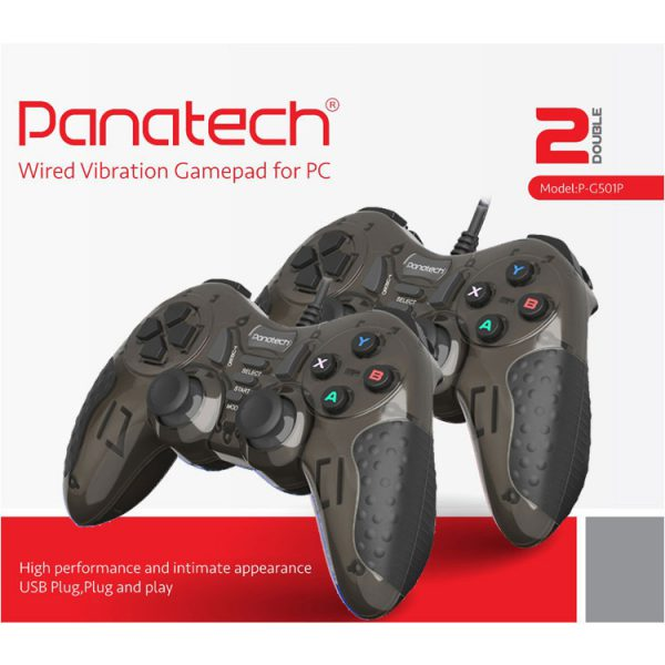 تصویر دسته بازی دوبل شوکدار حرفه ای Panatech مدل G501 مشکی