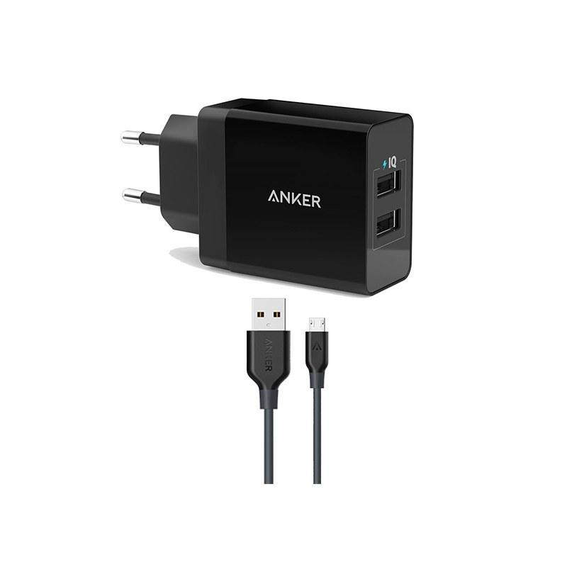 شارژر دو پورت PowerPort 2 انکر بههمراه کابل ۰.۹ متری micro USB مدل B2021