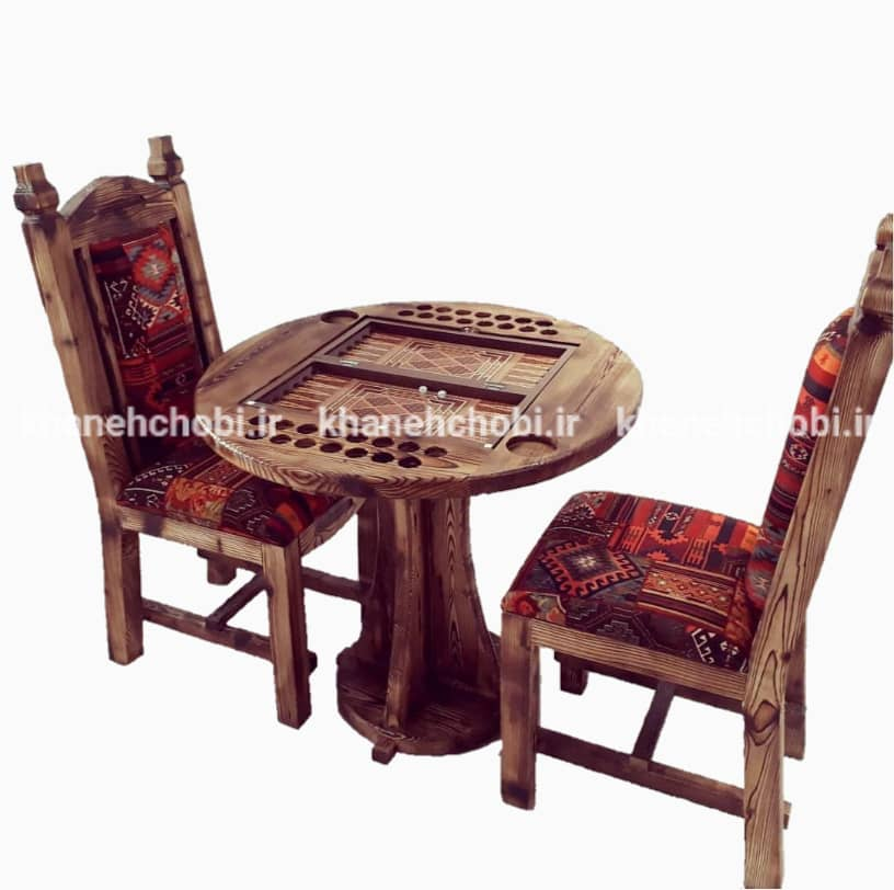میز و صندلی بازی تخته نرد و شطرنج مدل رومی